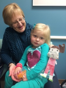 Grandma and Grandpa took Emma to chemo the other day.  Flat Alyssa even had to put on a mask.
