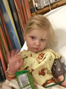 Here is Emma minutes after she woke up from the MRI.  She was a little tired.