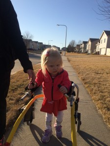 Emma took advantage of the nice days outside and worked on her walking.