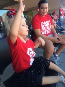 Emma having fun at the Brain Tumor Awareness Game.