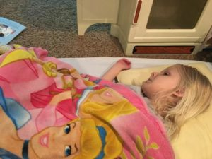 Sometimes Emma will scoot herself to bed early at daycare.  Her amazing friends will even tuck her in.