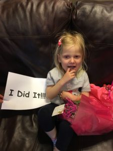 "Of course Emma had to have a little sign for the ""last"" chemo day."